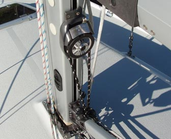 The 309's mast-mounted winch is turned by a furler loop