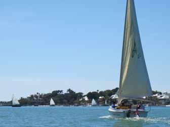 Alerion catboat motoring