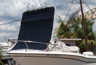 T-top and canvas peeled up by hurricane