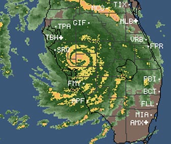 The eye of Hurricane Charley is just a few miles from my house in this satellite image