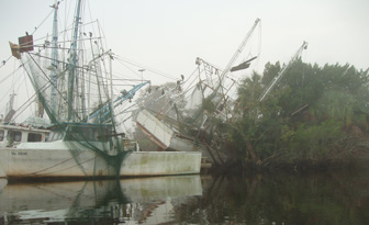 Sunken and derelict fishing boats