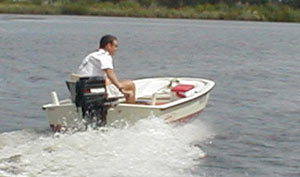 11-foot Boston Whaler in smoother water