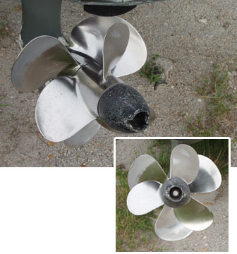 Five-blade stainless steel prop