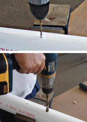Drilling the holes in the PVC