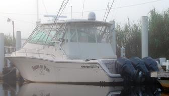 A pontoon houseboat