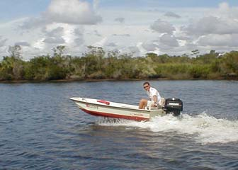 Here's me zooming around in Shell Creek in my little Whaler