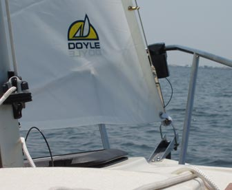 mast-mounted halyard fairlead and velcro jib tack