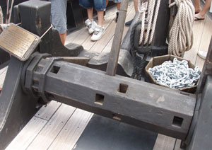 The windlass was a bulky and primitive looking affair