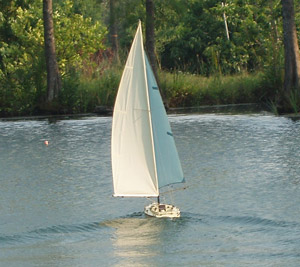 The sailboat is funny going downwind