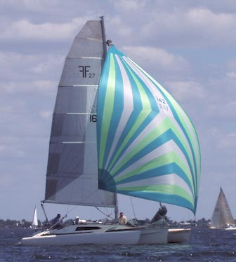 Our F-27 Trimaran flying its spinnaker during Race 6