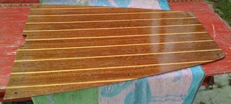 The first step in making this a teak and sandy sole was to varnish the top side of the piece one more time.