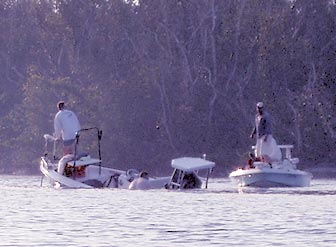 The fishing boat promptly began sinking