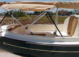 Bimini top on ComPac Sun Cat