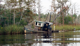 Sunken fishing boat