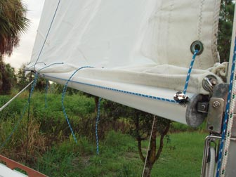 Tack reefed from starboard side showing clamcleat