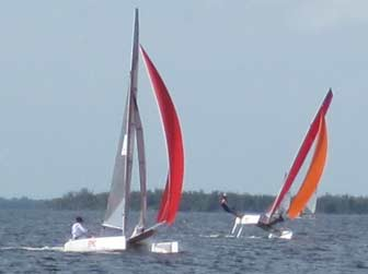Viper F16 catamarans Reaching