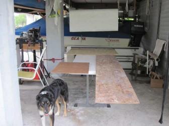 Luke at Fiberglass Cutting Table