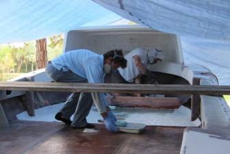 Fiberglassing Deck on Pec