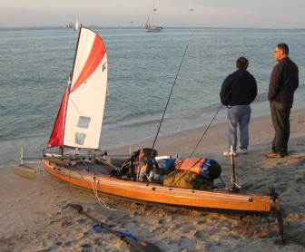 Wooden Kayak Rigged and Loaded